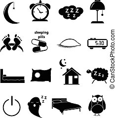 sleeping time icons set