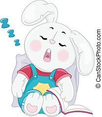 Illustration of a Rabbit Sleeping Soundly With an Open Book Resting Beside Him