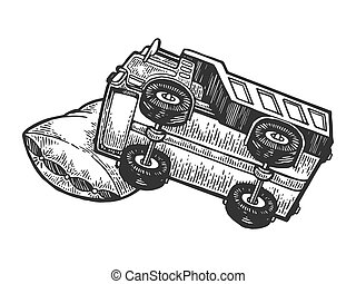 Sleeping truch lorry on pillow engraving vector...