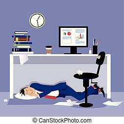 Sleeping under a desk - Man sleeping under his desk in the...