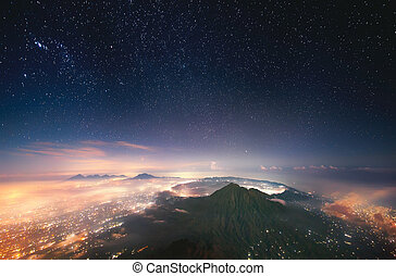 Indonesia, Bali, View of Batur volcano (1,717 m) from the peak of Agung (3,142 m).