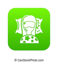 Sleeping woman icon green