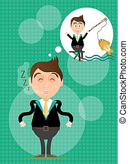Sleeping, young, standing, businessman has dream about fishing. He caught golden fish. Green background with pattern.