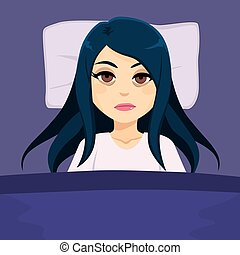 Sleepless tired girl suffering insomnia in bed with open eyes on dark night
