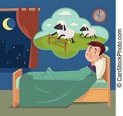 Sleepless man counting sheep. Vector flat cartoon illustration