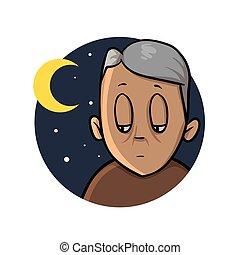 sleeplessness., plat, vieux, illustration., insomnie, isolé, haut, arrière-plan., vecteur, conception, icon., blanc, dessin animé, night., homme