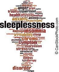 Sleeplessness word cloud concept. Vector illustration