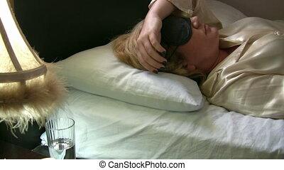 Sleeply women - Sleeply sick women taking her pill