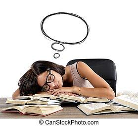 Sleeps and dreams - A woman sleeps and dreams over books