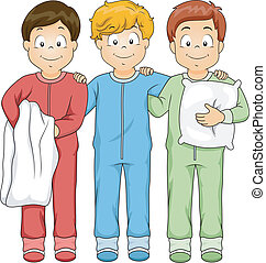 Sleepwear Boys - Illustration Featuring a Group of Boys...