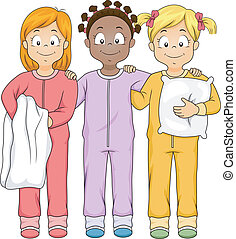Sleepwear Girls - Illustration of a Group of Girls Wearing...