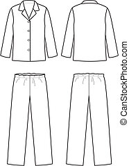 Vector illustration of women's sleepwear. Front and back views