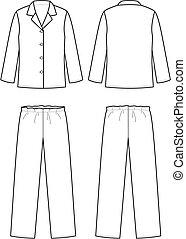 Sleepwear - Vector illustration of women's sleepwear. Front...