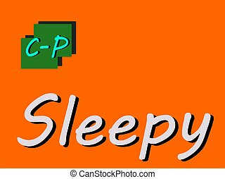 Sleepy abbreviation is displayed with text and symbolic pattern on educational background for thought prints.