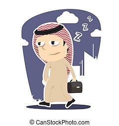 Sleepy arabian businessman going to work