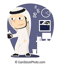 Sleepy arabian businessman holding cup of coffee