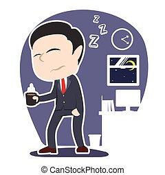 Sleepy asian businessman holding cup of coffee