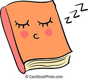 Sleepy book, illustration, vector on white background.