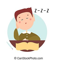 Sleepy boy with closed eyes in front of an open book. Isolated flat illustration on a white backgroud. Cartoon vector image.