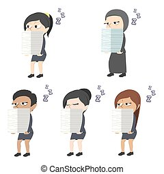 Sleepy businesswoman carrying pile of paper different race set