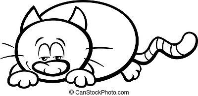 sleepy cat cartoon coloring book