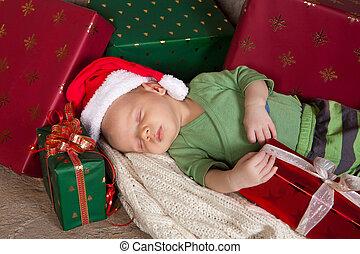 Sleepy christmas baby