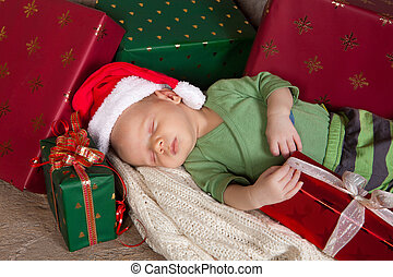 Sleepy christmas baby