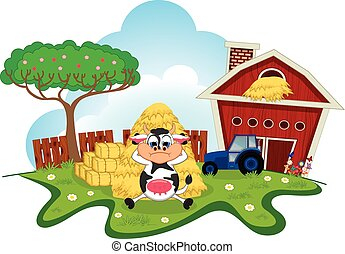 Sleepy Cow cartoon in a farm
