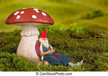 Sleepy garden gnome