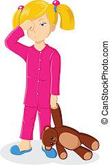 Illustration of a sleepy little girl holding a teddy bear
