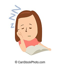 Sleepy girl with closed eyes in front of an open book. Isolated flat illustration on a white backgroud. Cartoon vector image.