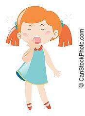 Sleepy girl yawning on white background illustration