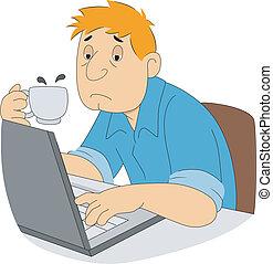 Sleepy Guy Writer - Illustration of a sleepy guy writer with...