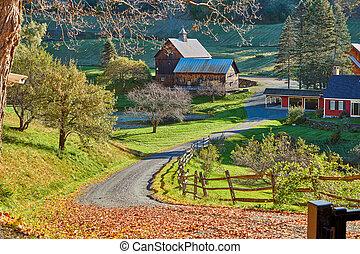 Sleepy Hollow Farm at sunny autumn day in Woodstock, Vermont, USA