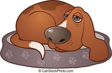 Vector cartoon illustration of a sleepy hound dog lying on a paw print dog bed.