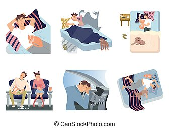 Sleepy man concept series - insomnia, nightmare, tired and sleeping in the cinema, at the wheel of his car. Sleeplessness and as a result drowsiness, lethargy. Flat Art Vector Illustration