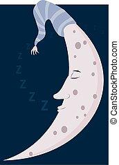 Sleepy moon - A whimsical image of a sleeping crescent moon.