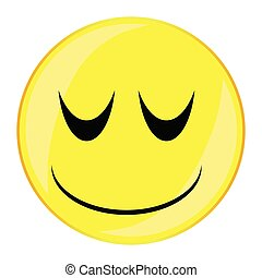 Sleepy Smile Face Button Isolated