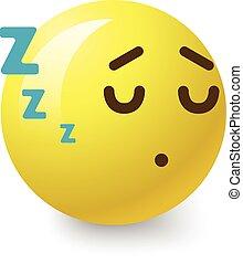 Sleepy smiley icon, cartoon style