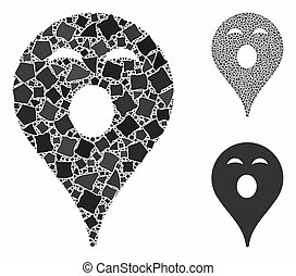 Sleepy smiley map marker Composition Icon of Joggly Pieces