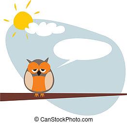 Sleepy talking vector owl banner