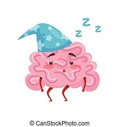 Sleepy tired humanized brain in blue nightcap. Cartoon character of human organ. Flat vector icon