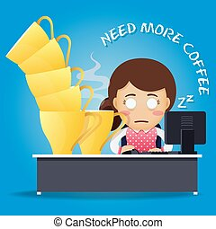 sleepy woman working on computer and many big coffee cups -...