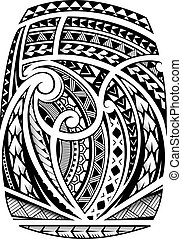 Sleeve tattoo in polynesian ethnic style - Maori ornament ...