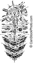 Sleeve tattoo ornament with circuit theme