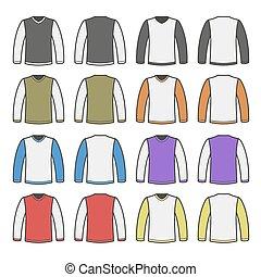 sleeved, cor, set., homens, longo, t-shirt, vetorial, camisas