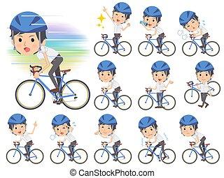 sleeved, fiets, hemd, zakenman, rijden, kort, witte