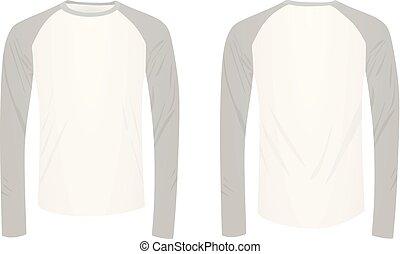 sleeved, t, lang, hemd