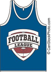 Sleeveless blue Shirt with Football Label. Singlet vector...