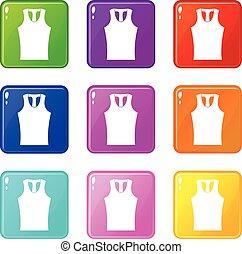 Sleeveless shirt icons 9 set